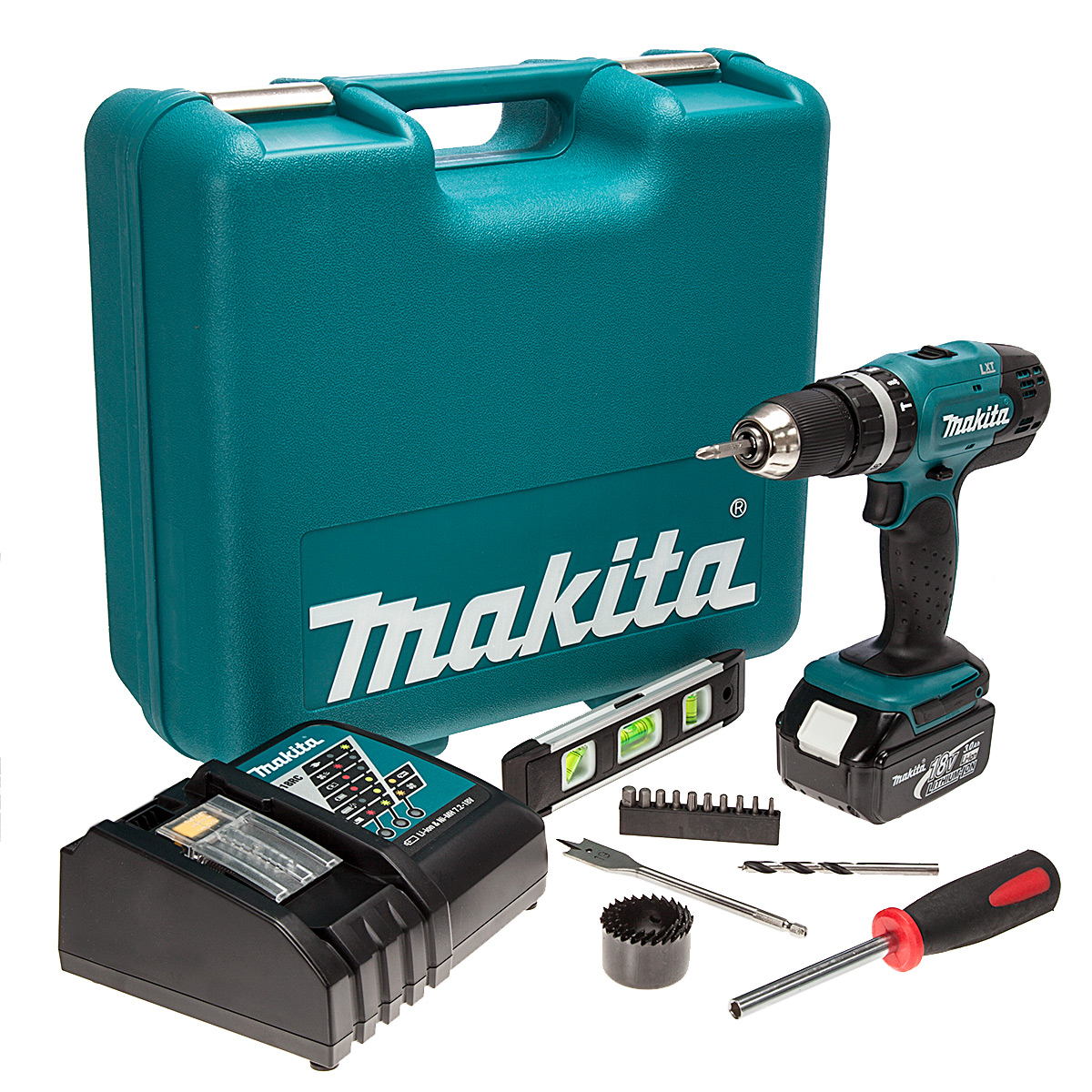 makita dhp453rftk cordless 18v li ion combi drill 1 x 3ah battery in case with 101 piece. Black Bedroom Furniture Sets. Home Design Ideas