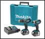 Makita DK1862X 18V Li-ion 2 Piece Combi Drill + Impact Driver Cordless Kit (2 x 3Ah Batteries)