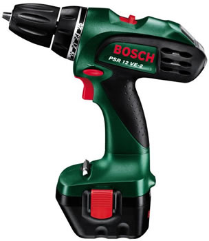bosch green psr 12 ve2 1 bat 12 volt cordless 2 speed drill driver 10mm keyless chuck product. Black Bedroom Furniture Sets. Home Design Ideas