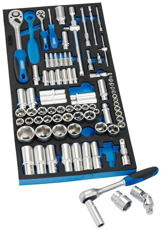 """Draper Tools 96 Piece 1//4/"""" 3//8/"""" /& 1//2/"""" Socket Set With EVA"""