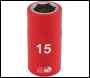 DRAPER 1/2 inch  Sq. Dr. Fully Insulated VDE Socket (15mm) - Pack Qty 1 - Code: 31835
