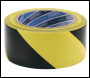 DRAPER 33M x 50mm Black and Yellow Adhesive Hazard Tape Roll - Code: 63382
