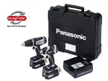 Panasonic EYC215LJ2G31 Cordless 18V Combi Drill//Impact Driver Twinpack 2 x 5.0Ah Batteries