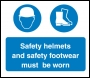 Safety Helmets and Safety Footwear Must Be Worn Sign - OSM5005 - 600 x 400mm