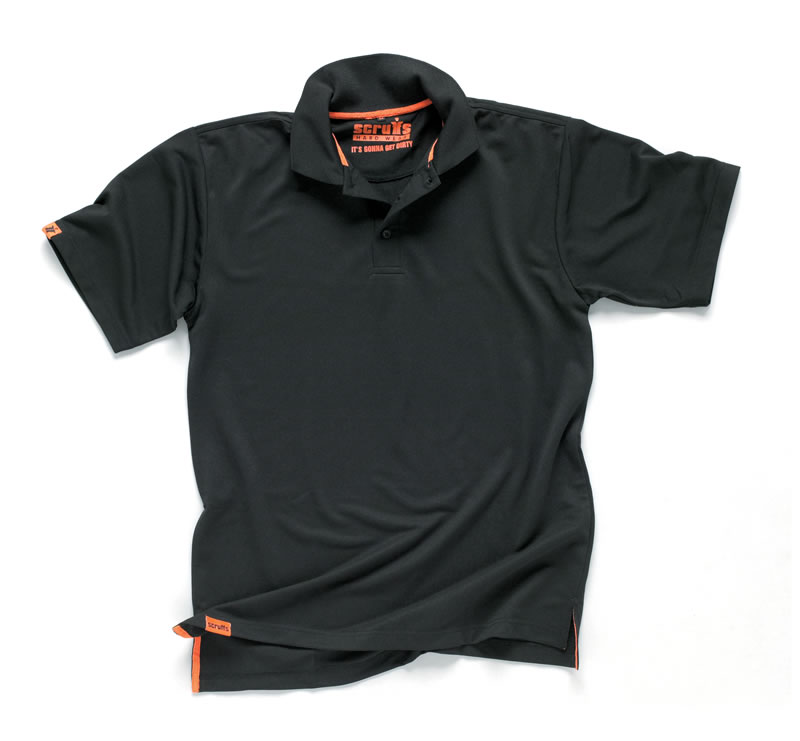 Scruffs wicking stay dry polo shirt black product for Women s dri fit polo shirts wholesale