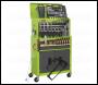 Sealey AP2200COMBOHV Topchest & Rollcab Combination 6 Drawer Ball Bearing Slides - Hi-Vis Green/Grey & 128pc Tool Kit
