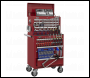 Sealey APCOMBOBBTK55 Topchest & Rollcab Combination 10 Drawer with Ball Bearing Slides - Red & 147pc Tool Kit