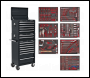 Sealey TBTPCOMBO2 Tool Chest Combination 14 Drawer with Ball Bearing Slides - Black & 446pc Tool Kit