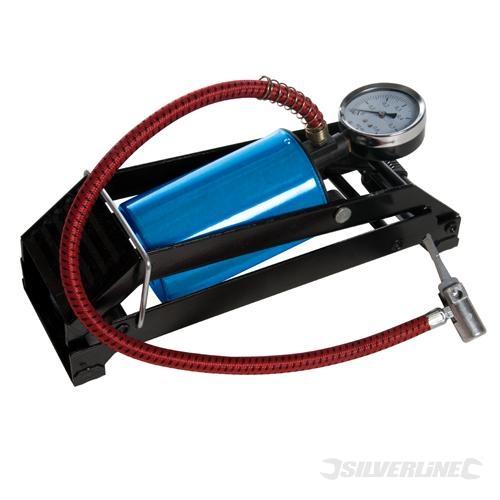 Foot Pump Heavy Duty Double Barrel 470cc High Air Output Metal Valve 550mm Hose