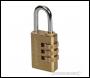 Silverline Combination Padlock Brass - 3-Digit - Code 744867
