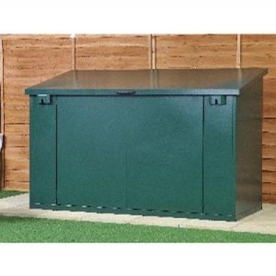 asgard green metal garden storage box with lift up lid