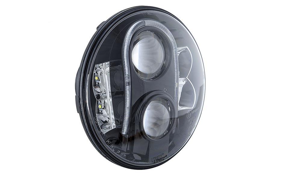 "LTPRTZ 7"" LED Headlight Black Reflector - Code LTPZ-HL7-2-RHD"