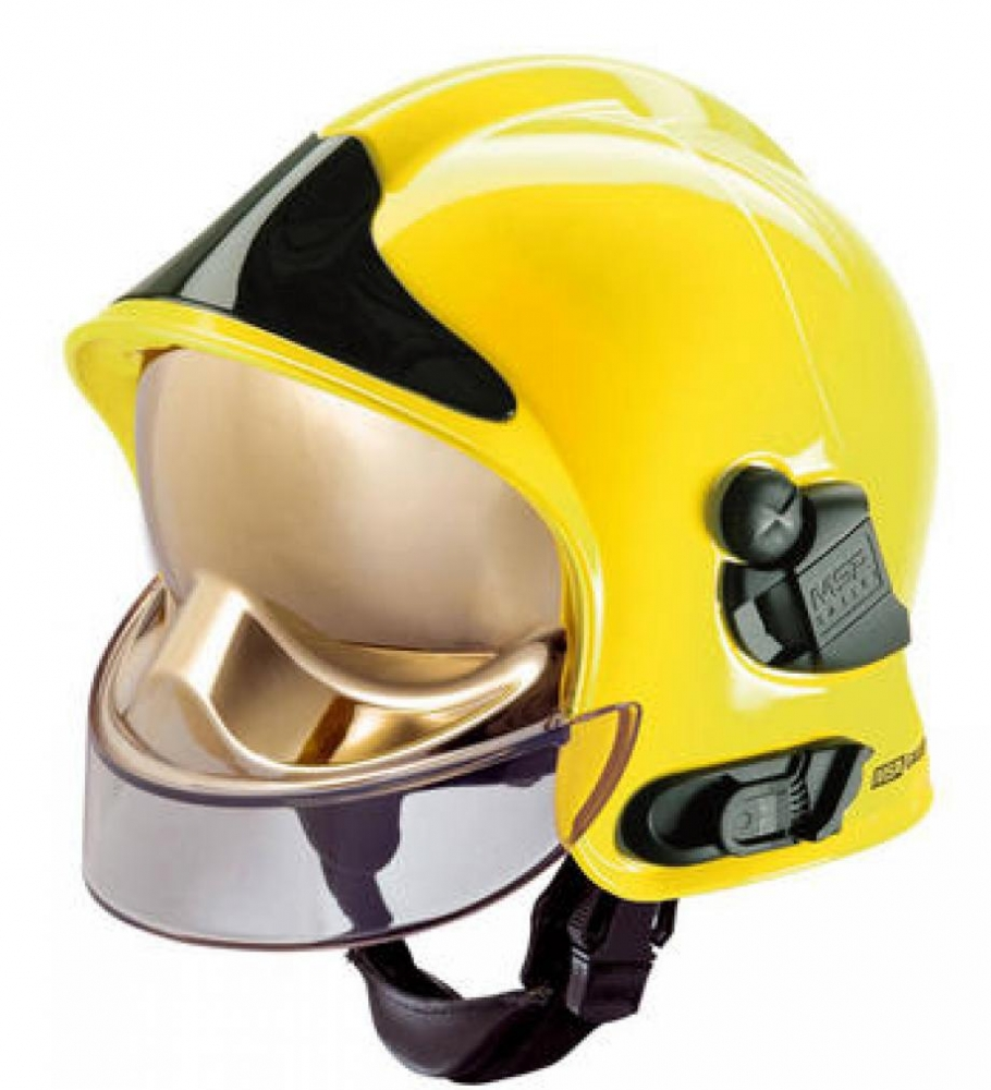 Msa F1sf Fire Helmet Yellow With Black Front Plate And