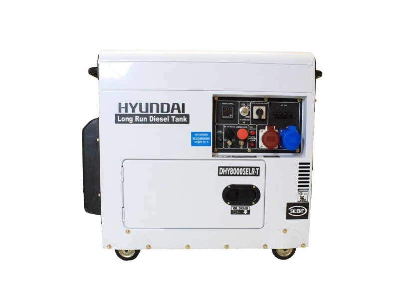 Hyundai DHY8000SELR-T 5KW 6 25KVA Single/Three Phase, 5KVA Diesel  Generator, 230v / 400v (Long Run 3000rpm Air Cooled)