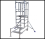 Lewis Trade Heavy Duty Aluminium Podium Steps 1.25 Metre Platform Height with Self-Closing Doors - Adjustable Heights